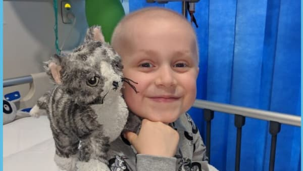Young Zach in hospital with fluffy grey toy cat